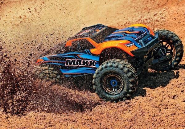 Traxxas MAXX 4x4 Orange m. LED VXL-4S Brushless Monstertruck ohne Akku/Lader 89076-4